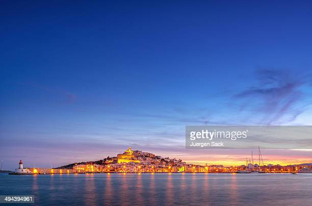 ibiza - sunset over ibiza town - ibiza island stock pictures, royalty-free photos & images