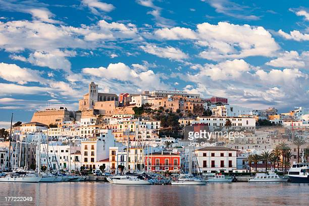 ibiza town at sunrise - ibiza island stock pictures, royalty-free photos & images