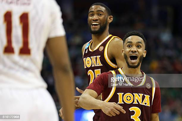 Ibn Muhammad of the Iona Gaels reacts during the game against the Iowa State Cyclones during the first round of the 2016 NCAA Men's Basketball...