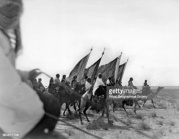 Ibn Saud's army on the march near Habl Saudi Arabia 8th January 1911