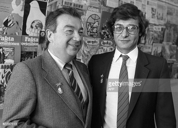 Ibn Sina prize winners Academician Yevgeny Primakov and Palestinian poet and journalist Mahmud Darwish are seen in Moscow on September 01 1983....