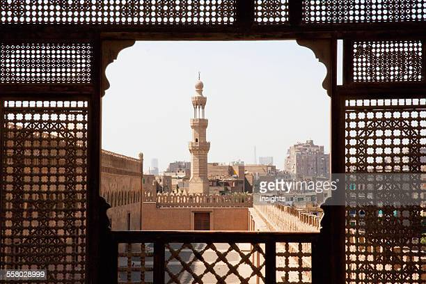 Ibn Tulun Mosque As Seen Through A Wooden Mashrabeya Screen On The Roof Terrace Of The Gayer Anderson Museum Cairo Al Qahirah Egypt