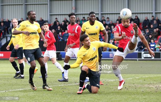Ibou Touray of Salford City clears the ball during the Vanarama National League match between Salford City and Dover Athletic at Peninsula Stadium on...