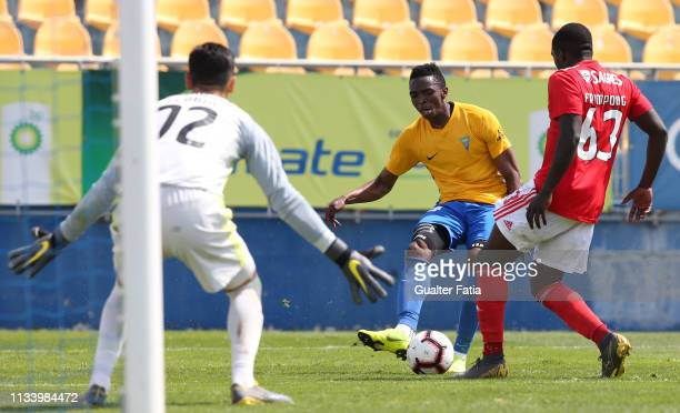 Ibra Koneh of GD Estoril Praia with Godfried Frimpong of SL Benfica B in action during the Ledman Liga Pro match between GD Estoril Praia and SL...
