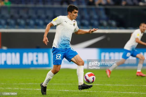 Ibragim Tsallagov of Sochi in action during the Russian Premier League match between FC Zenit Saint Petersburg and FC Sochi on October 3, 2021 at...