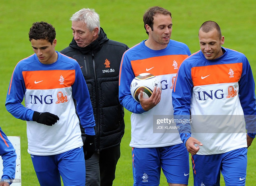 Ibrahim Afellay, head coach Bert Van Marwijk, Joris Mathijsen and John Heitinga attend the Dutch national football team's first practice at their training camp in Tyrolian village in Seefeld on May 20, 2010, prior to the FIFA World cup 2010 in South Africa.