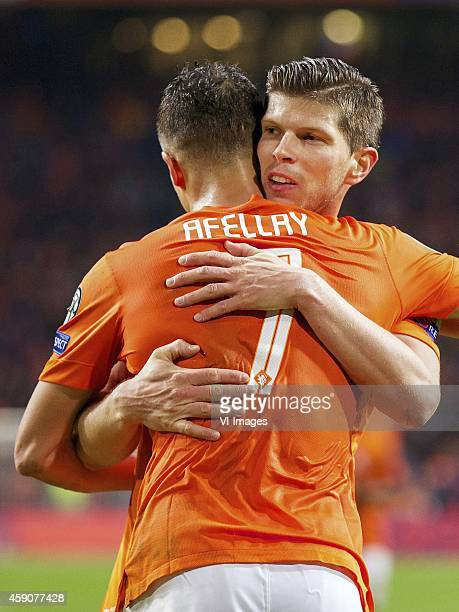 Ibrahim Afellay of Holland KlaasJan Huntelaar of Holland during the match between Netherlands and Latvia on November 16 2014 at the Amsterdam Arena...