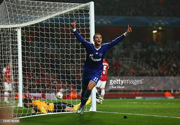 Ibrahim Afellay of Schalke 04 celebrates scoring their second goal during the UEFA Champions League Group B match between Arsenal and FC Schalke at...