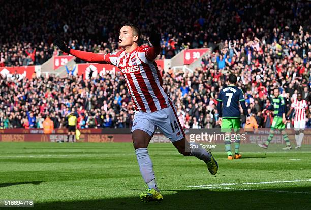 Ibrahim Afellay of Stoke City celebrates scoring his team's first goal during the Barclays Premier League match between Stoke City and Swansea City...