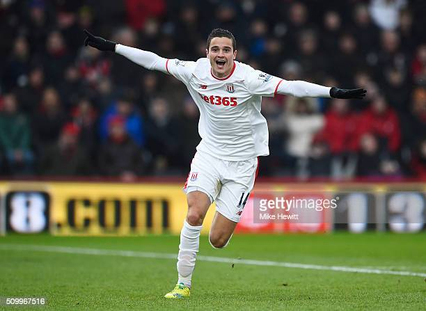 Ibrahim Afellay of Stoke City celebrates scoring his team's second goal during the Barclays Premier League match between AFC Bournemouth and Stoke...