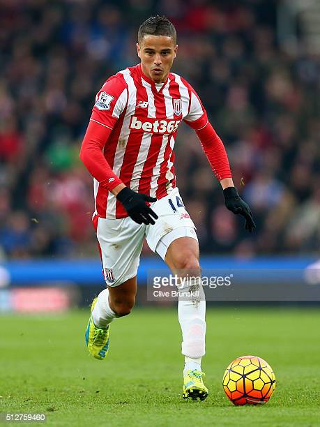 Ibrahim Afellay of Stoke City in action during the Barclays Premier League match between Stoke City and Aston Villa at Britannia Stadium on February...