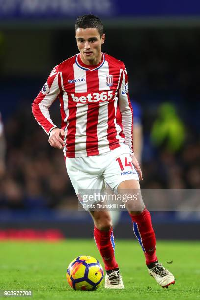 Ibrahim Afellay of Stoke City in action during the Premier League match between Chelsea and Stoke City at Stamford Bridge on December 30 2017 in...