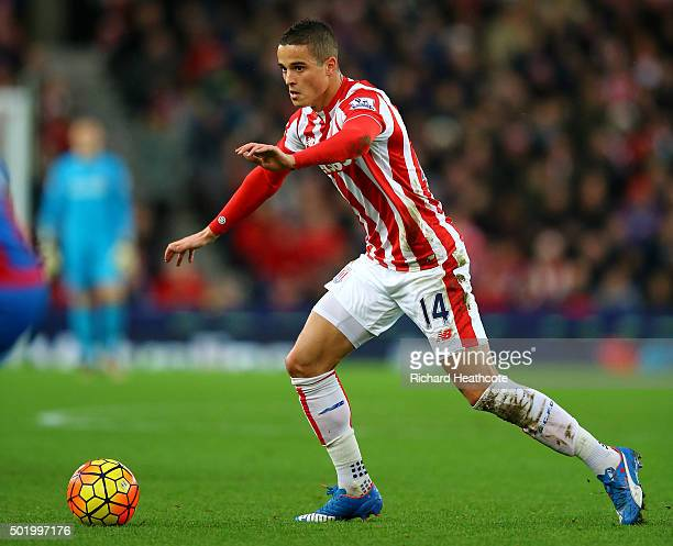 Ibrahim Afellay of Stoke in action during the Barclays Premier League match between Stoke City and Crystal Palace at the Britannia Stadium on...