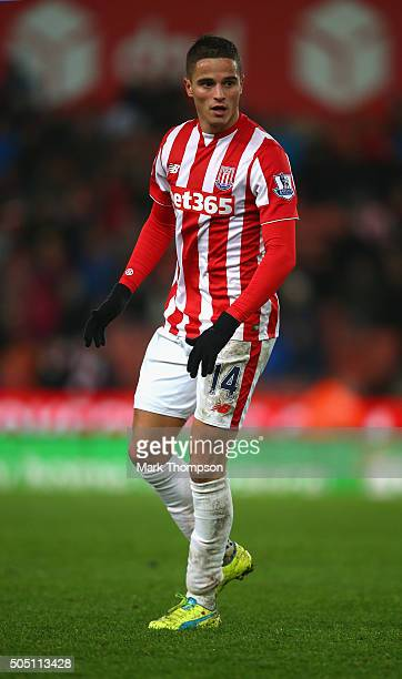 Ibrahim Afellayl of Stoke City in action during the Barclays Premier League match between Stoke City and Norwich City at the Britannia Stadium