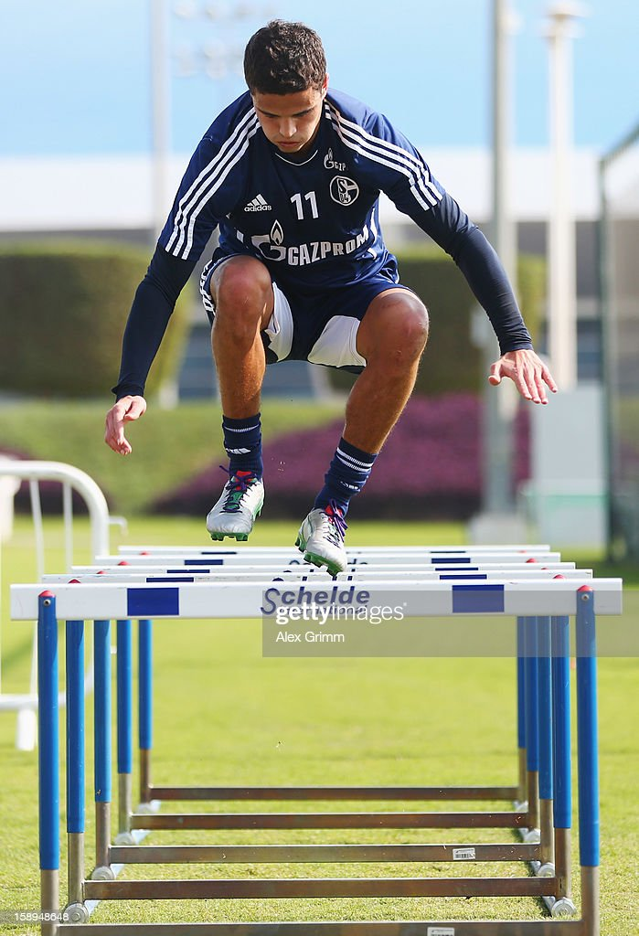 Ibrahim Affelay exercises during a Schalke 04 training session at the ASPIRE Academy for Sports Excellenc on January 4, 2013 in Doha, Qatar.