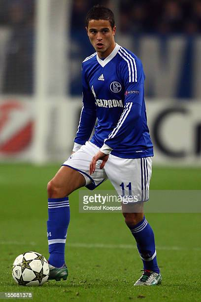 Ibrahim Affelay of Schalke runs with the ball during the UEFA Champions League group B match between FC Schalke 04 and Arsenal FC at Veltins Arena on...