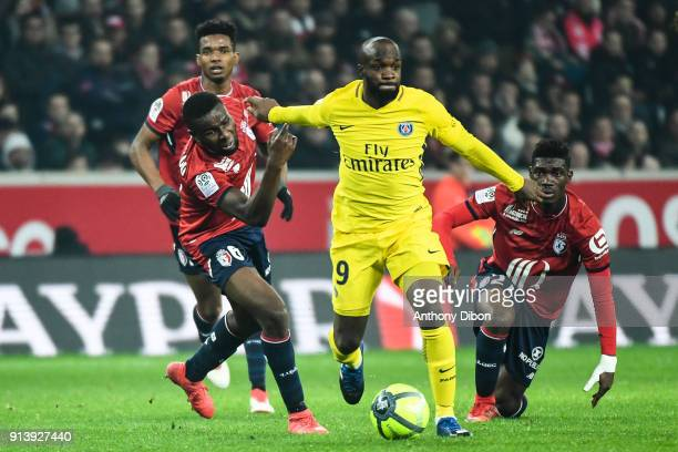 Ibrahim Amadou and Lassana Diarra of PSG during the Ligue 1 match between Lille OSC and Paris Saint Germain PSG at Stade Pierre Mauroy on February 3...