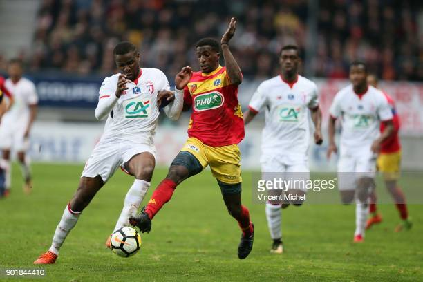 Ibrahim Amadou of Lille and Abdoul Kader Bamba of Le mans during the french National Cup match between Le Mans and Lille on January 6 2018 in Le Mans...