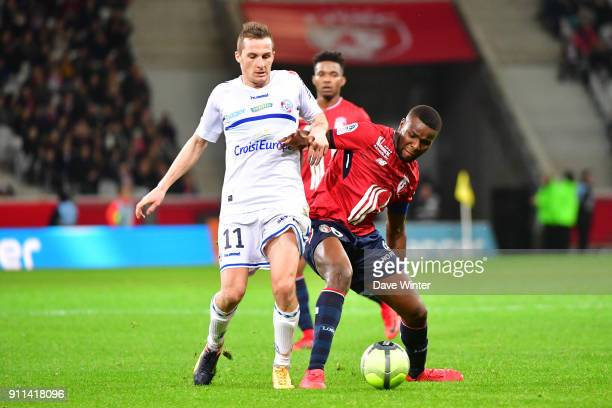 Ibrahim Amadou of Lille and Dimitri Lienard of Strasbourg during the Ligue 1 match between Lille OSC and Strasbourg at Stade Pierre Mauroy on January...