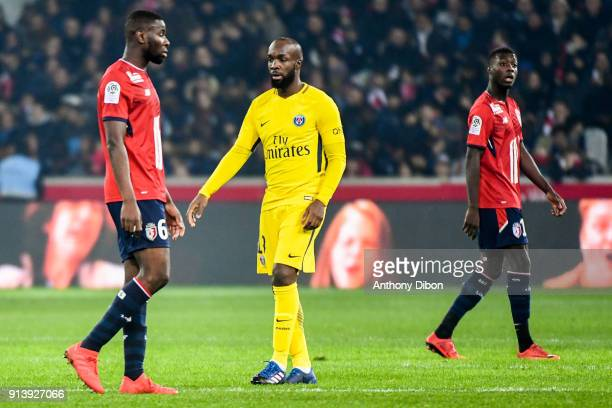 Ibrahim Amadou of Lille and Lassana Diarra of PSG during the Ligue 1 match between Lille OSC and Paris Saint Germain PSG at Stade Pierre Mauroy on...