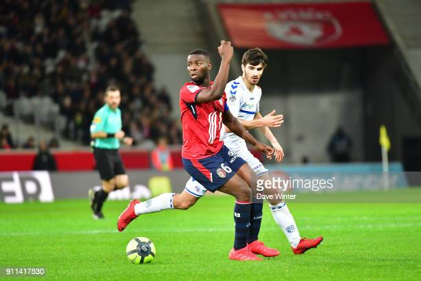 Ibrahim Amadou of Lille and Martin Terrier of Strasbourg during the Ligue 1 match between Lille OSC and Strasbourg at Stade Pierre Mauroy on January...
