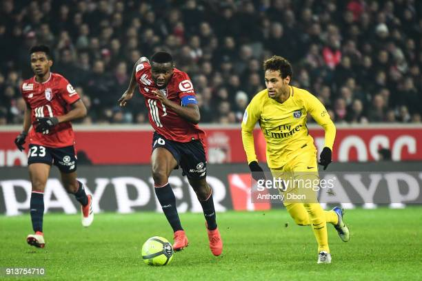 Ibrahim Amadou of Lille and Neymar Jr of PSG during the Ligue 1 match between Lille OSC and Paris Saint Germain PSG at Stade Pierre Mauroy on...