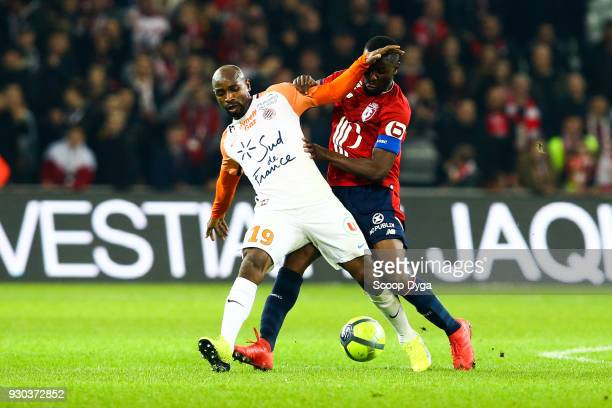 Ibrahim Amadou of Lille and Souleymane Camara of Montpellier during the Ligue 1 match between Lille OSC and Montpellier Herault SC at Stade Pierre...