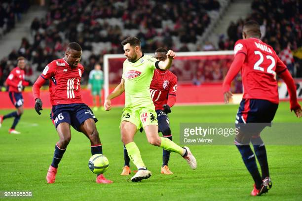 Ibrahim Amadou of Lille and Thomas Mangani of Angers during the Ligue 1 match between Lille OSC and Angers SCO at Stade Pierre Mauroy on February 24...