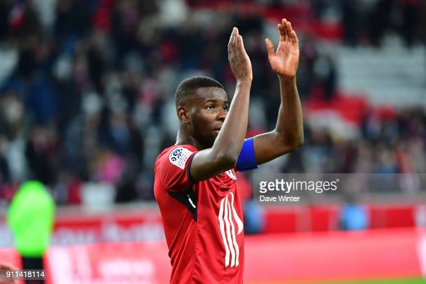 Ibrahim Amadou of Lille celebrates winning the Ligue 1 match between Lille OSC and Strasbourg at Stade Pierre Mauroy on January 28 2018 in Lille...