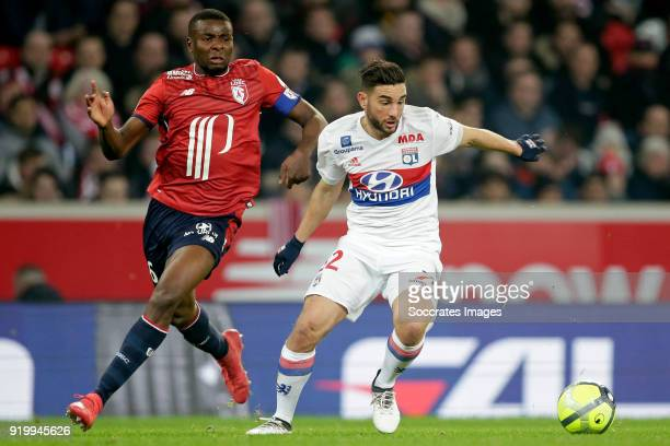 Ibrahim Amadou of Lille Jordan Ferri of Olympique Lyon during the French League 1 match between Lille v Olympique Lyon at the Stade Pierre Mauroy on...