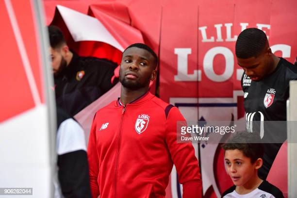 Ibrahim Amadou of Lille leads his side out for the Ligue 1 match between Lille OSC and Stade Rennais at Stade Pierre Mauroy on January 17 2018 in...