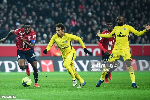 Ibrahim Amadou of Lille Neymar Jr and Lassana Diarra of PSG during the Ligue 1 match between Lille OSC and Paris Saint Germain PSG at Stade Pierre...