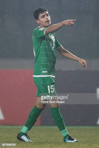 Ibrahim Bayesh of Iraq gestures during the AFC U23 Championship China 2018 Group C match between Iraq and Jordan at Changshu Sports Center on 16...