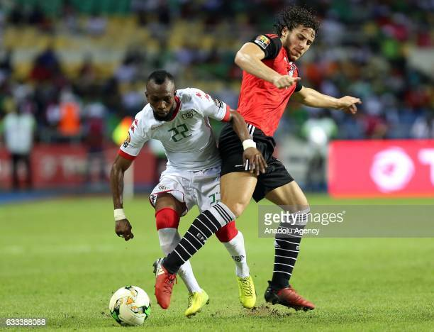 Ibrahim Blati Toure of Burkina Faso in action against Ahmed Hegazy of Egypt during the 2017 Africa Cup of Nations semifinal football match between...