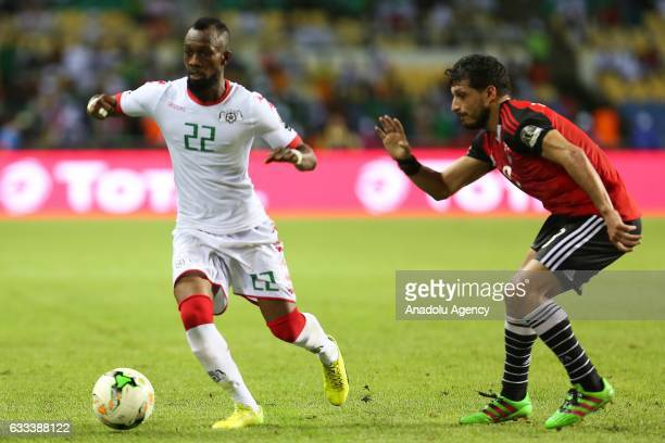 Ibrahim Blati Toure of Burkina Faso in action against Tarek Hamed of Egypt during the 2017 Africa Cup of Nations semifinal football match between...