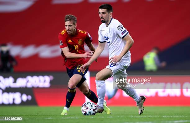 Ibrahim Dresevic of Kosovo is challenged by Dani Olmo of Spain during the FIFA World Cup 2022 Qatar qualifying match between Spain and Kosovo at...
