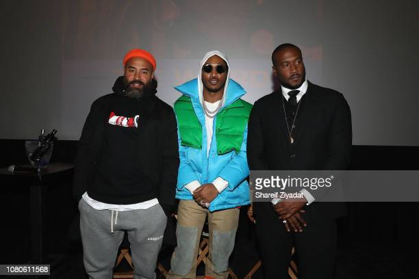 Ibrahim Ebro Darden Future and Marcus Clark attend The Wizrd New York Screening at iPic Theater on January 10 2019 in New York City