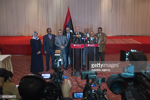 Ibrahim Fethi Amish representative of Libyan Parliament and Avd Muhammed Abdussadik representative of General National Congress hold a joint press...