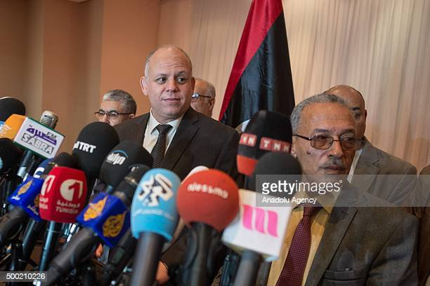 Ibrahim Fethi Amish representative of Libyan Parliament and Avd Muhammed Abdussadik representative of General National Congress hold a joint press...