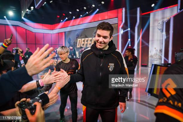 Ibrahim Fudge Allami of MAMMOTH celebrates with the fans after a victory over Unicorns of love in the League of Legends World Championship at the LEC...