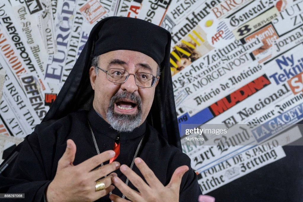 Ibrahim Isaac Sidrak, Coptic Patriarch of Alexandria, attends a press conference at Foreign Press Association in Rome, Italy on October 06, 2017.