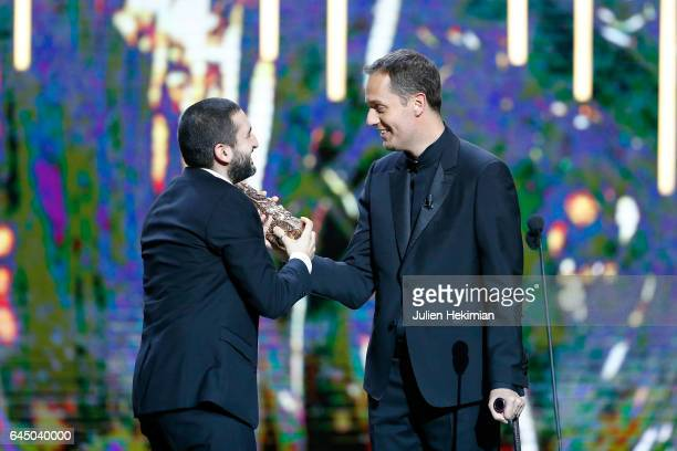 Ibrahim Maalouf receives the Cesar of Best Original Score for 'Dans les forets de Siberie' given by Grand Corps Malade during the Cesar Film Awards...