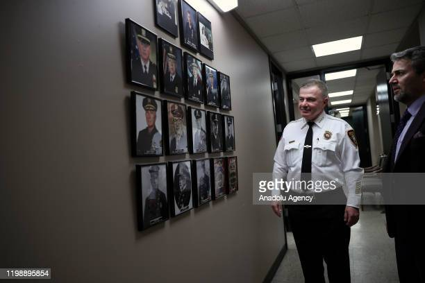 Ibrahim âMike❠Baycora the first TurkishAmerican and Muslim police chief appointed in US state of New Jersey views former police chiefs during an...