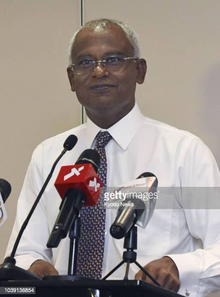 Ibrahim Mohammed Solih of the Maldivian Democratic Party speaks during a press conference in Male on Sept 24 at which he declared victory in the...