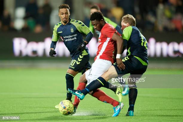 Ibrahim Moro of Silkeborg IF and Simon Tibbling of Brondby IF compete for the ball during the Danish Alka Superliga match between Silkeborg IF and...