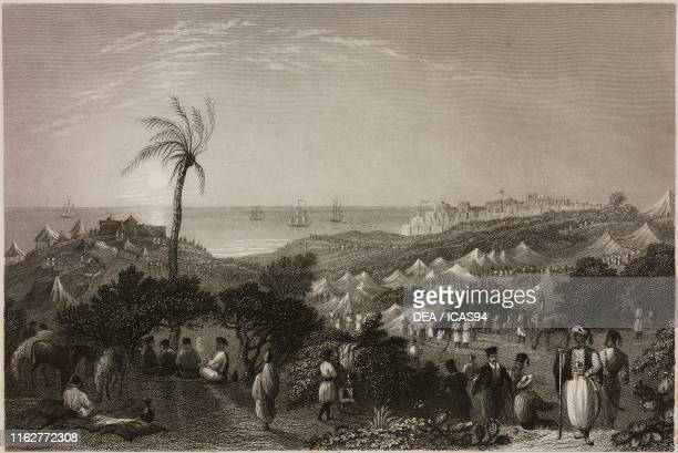 Ibrahim Pasha's camp near Jaffa Israel engraving by S Fisher after a drawing by W H Bartlett from La Siria e l'Asia minore illustrate by Giorgio...