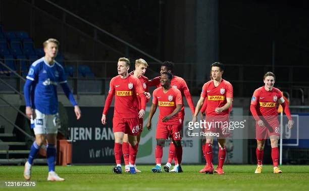 Ibrahim Sadiq of FC Nordsjalland celebrates after scoring their first goal during the Danish 3F Superliga match between Lyngby Boldklub and FC...