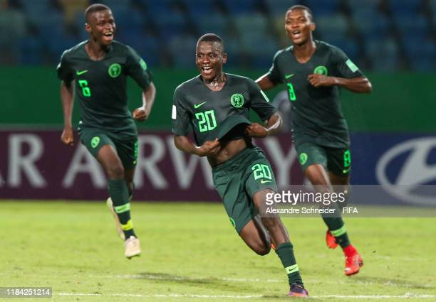 Ibrahim Said of Nigeria celebrates after scoring the second goal of his team during the match against Ecuador for the FIFA U17 World Cup Brazil 2019...