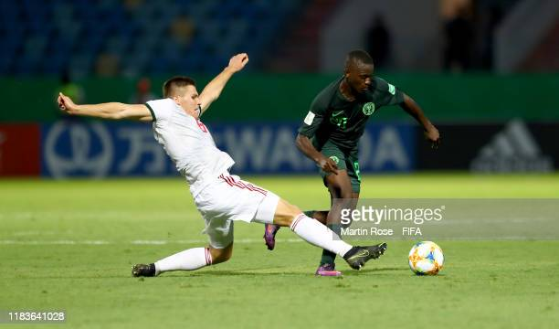 Ibrahim Said of Nigeria challenges Mihaly Kata of Hungary during the FIFA U17 World Cup Brazil 2019 Group B match between Nigeria and Hungary at...