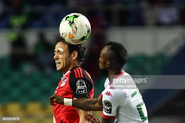 Ibrahim Salah of Egypt is in action against Ibrahim Blati Toure of Burkina Faso during the 2017 Africa Cup of Nations semifinal football match...